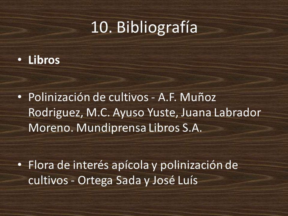10. Bibliografía Libros. Polinización de cultivos - A.F. Muñoz Rodriguez, M.C. Ayuso Yuste, Juana Labrador Moreno. Mundiprensa Libros S.A.