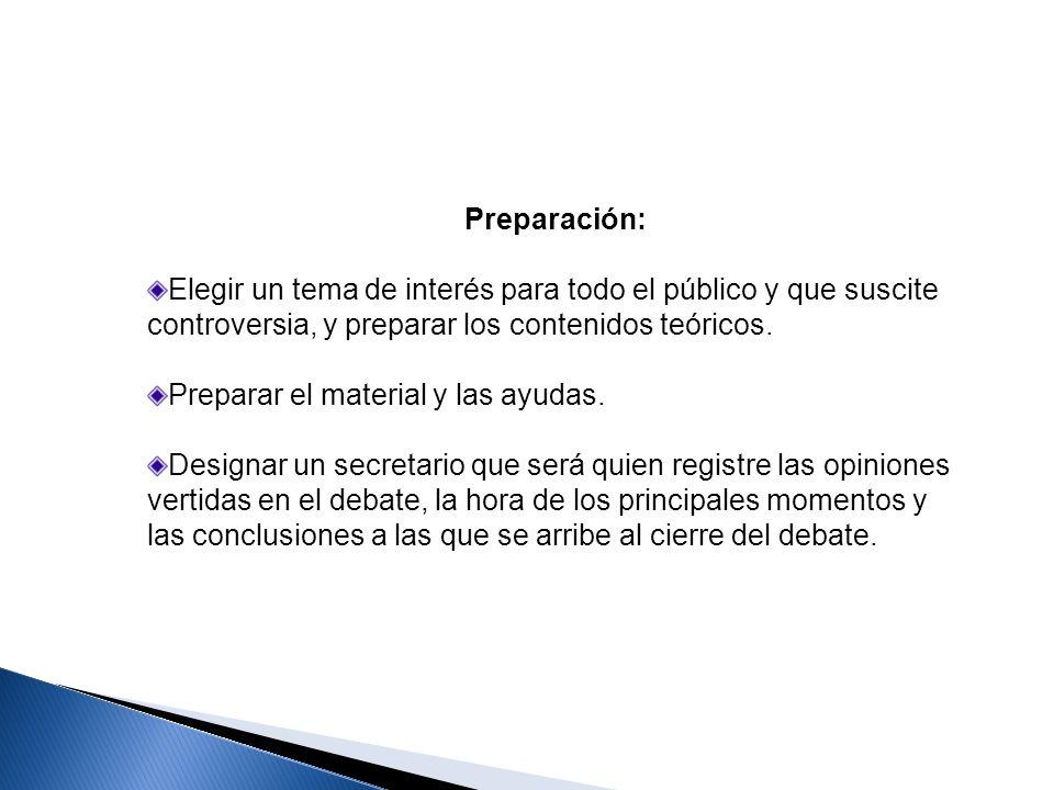 Preparación:Elegir un tema de interés para todo el público y que suscite controversia, y preparar los contenidos teóricos.