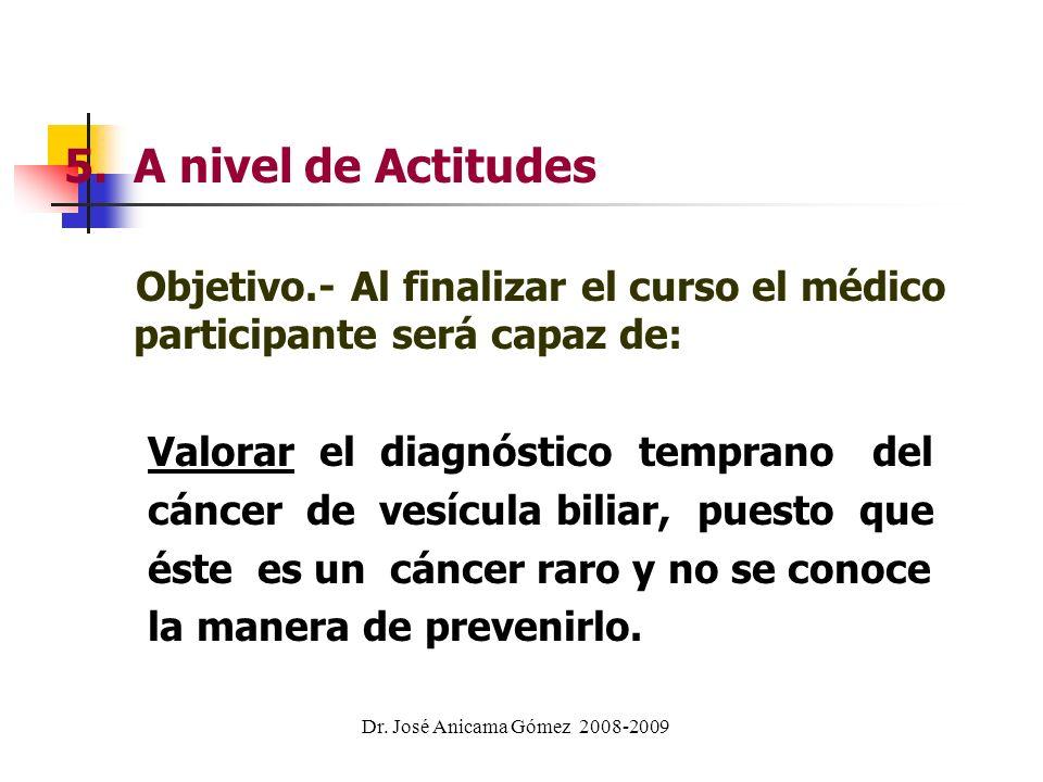 5. A nivel de Actitudes Objetivo.- Al finalizar el curso el médico participante será capaz de: