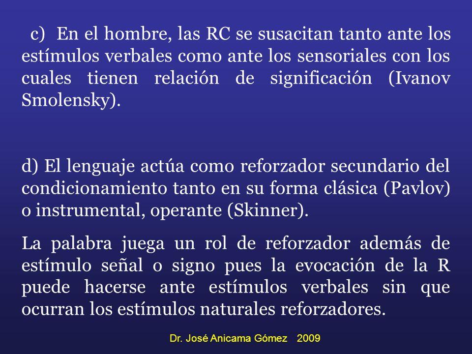 c) En el hombre, las RC se susacitan tanto ante los estímulos verbales como ante los sensoriales con los cuales tienen relación de significación (Ivanov Smolensky).
