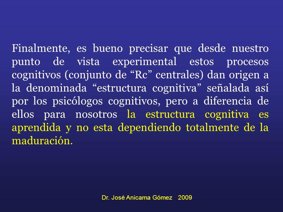 Finalmente, es bueno precisar que desde nuestro punto de vista experimental estos procesos cognitivos (conjunto de Rc centrales) dan origen a la denominada estructura cognitiva señalada así por los psicólogos cognitivos, pero a diferencia de ellos para nosotros la estructura cognitiva es aprendida y no esta dependiendo totalmente de la maduración.