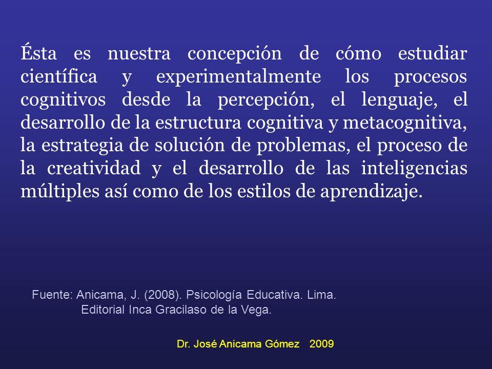 Ésta es nuestra concepción de cómo estudiar científica y experimentalmente los procesos cognitivos desde la percepción, el lenguaje, el desarrollo de la estructura cognitiva y metacognitiva, la estrategia de solución de problemas, el proceso de la creatividad y el desarrollo de las inteligencias múltiples así como de los estilos de aprendizaje.