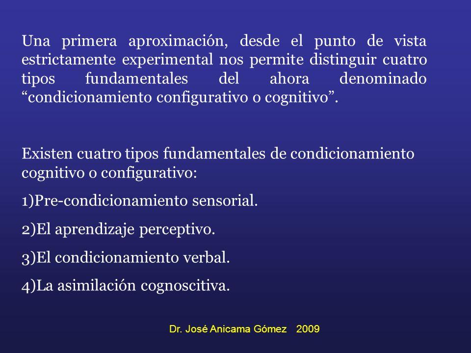 Pre-condicionamiento sensorial. El aprendizaje perceptivo.