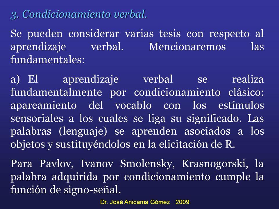 3. Condicionamiento verbal.