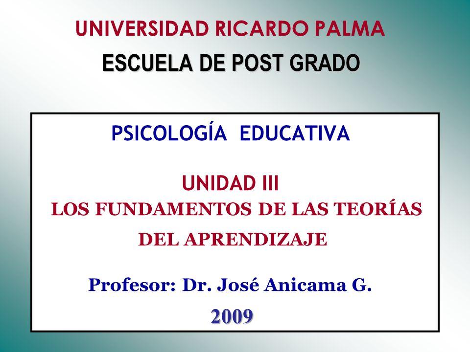 UNIVERSIDAD RICARDO PALMA ESCUELA DE POST GRADO PSICOLOGÍA EDUCATIVA UNIDAD III LOS FUNDAMENTOS DE LAS TEORÍAS DEL APRENDIZAJE Profesor: Dr. José Anicama G.