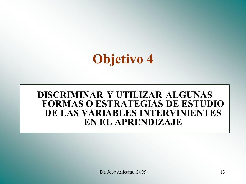 Objetivo 4 DISCRIMINAR Y UTILIZAR ALGUNAS FORMAS O ESTRATEGIAS DE ESTUDIO DE LAS VARIABLES INTERVINIENTES EN EL APRENDIZAJE.