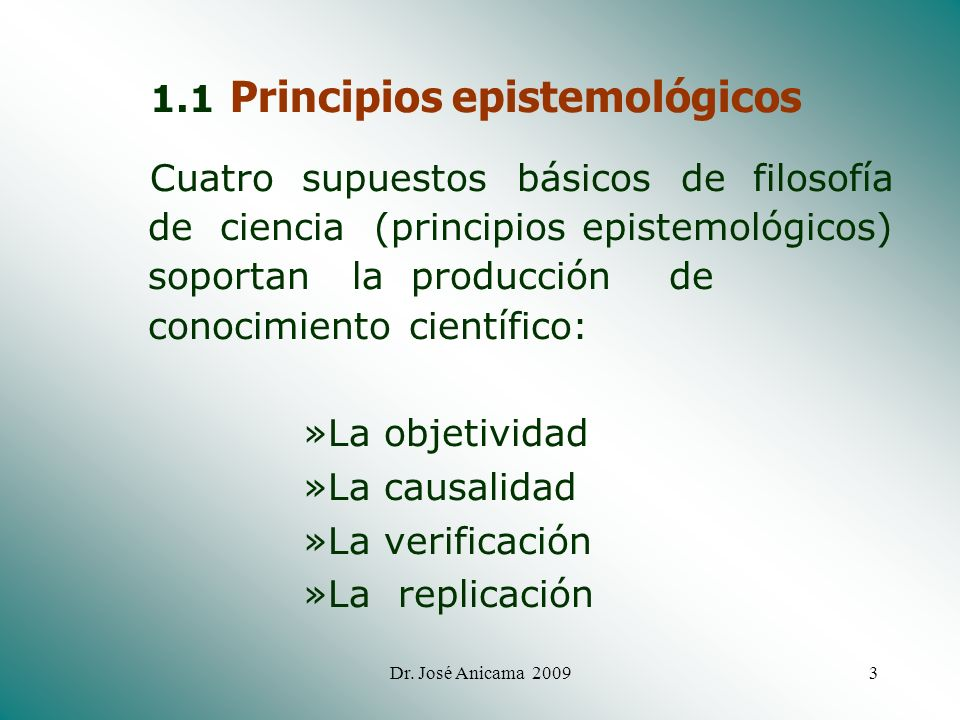 1.1 Principios epistemológicos
