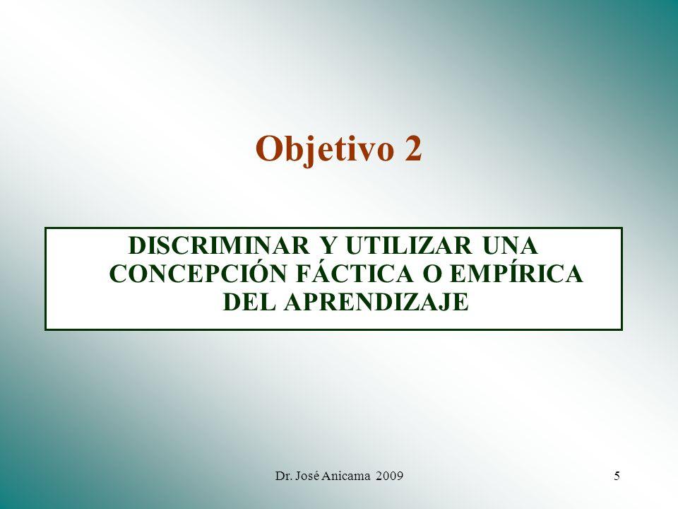 Objetivo 2 DISCRIMINAR Y UTILIZAR UNA CONCEPCIÓN FÁCTICA O EMPÍRICA DEL APRENDIZAJE.