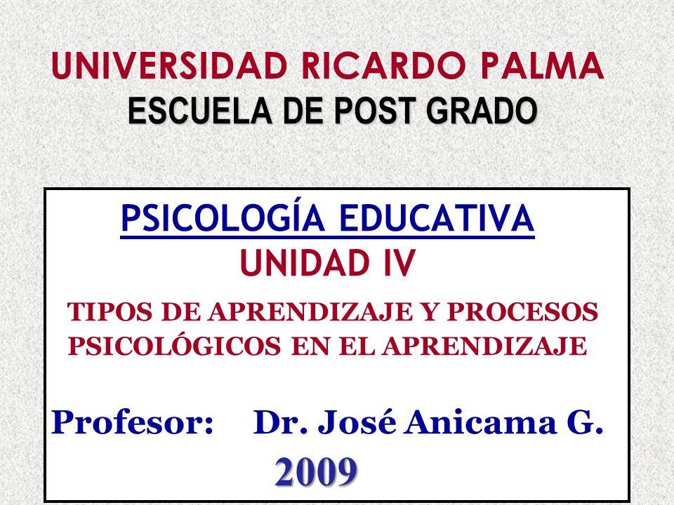 UNIVERSIDAD RICARDO PALMA ESCUELA DE POST GRADO PSICOLOGÍA EDUCATIVA UNIDAD IV TIPOS DE APRENDIZAJE Y PROCESOS PSICOLÓGICOS EN EL APRENDIZAJE Profesor: Dr. José Anicama G.