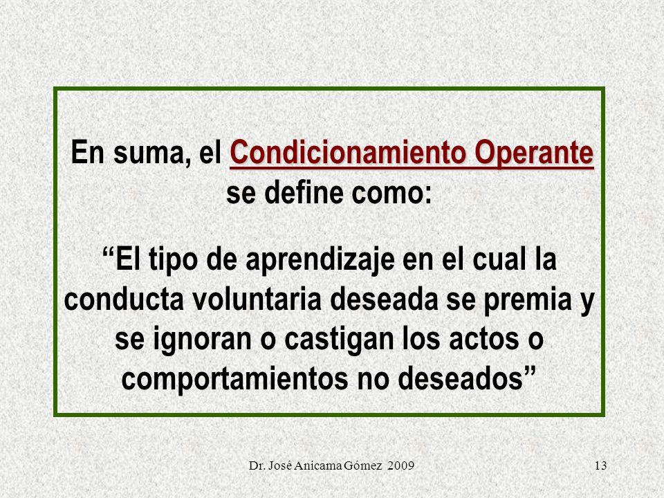 En suma, el Condicionamiento Operante se define como: