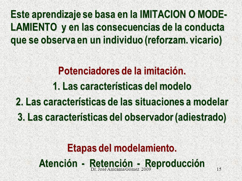 Potenciadores de la imitación. 1. Las características del modelo