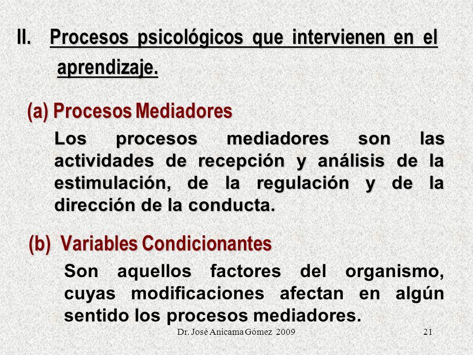 II. Procesos psicológicos que intervienen en el