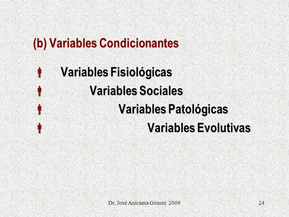 (b) Variables Condicionantes Variables Fisiológicas Variables Sociales
