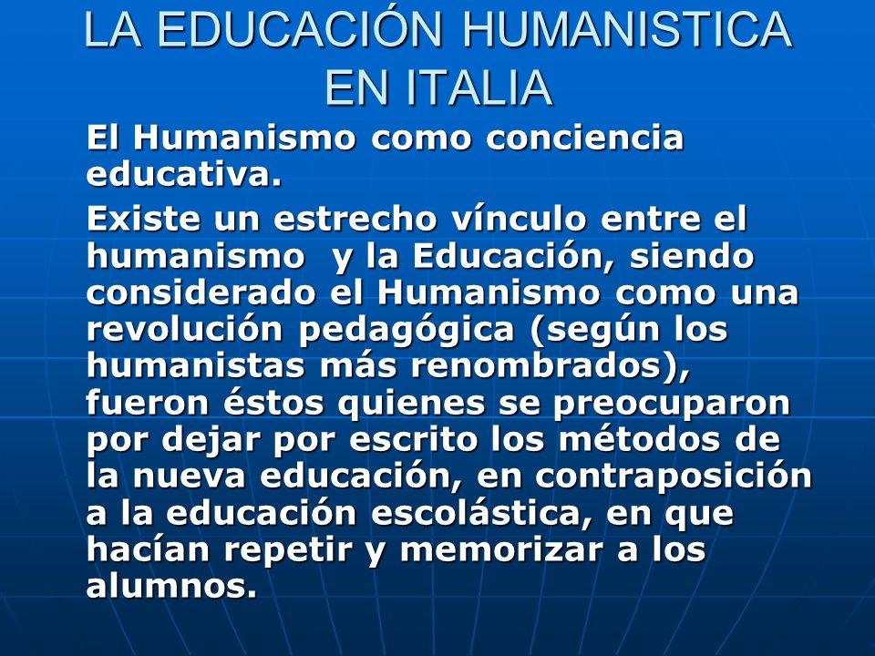 LA EDUCACIÓN HUMANISTICA EN ITALIA