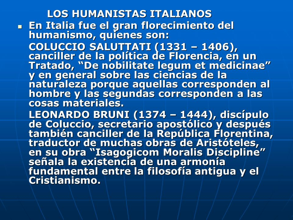 LOS HUMANISTAS ITALIANOS