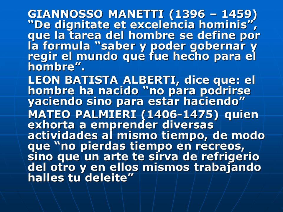 GIANNOSSO MANETTI (1396 – 1459) De dignitate et excelencia hominis , que la tarea del hombre se define por la formula saber y poder gobernar y regir el mundo que fue hecho para el hombre .
