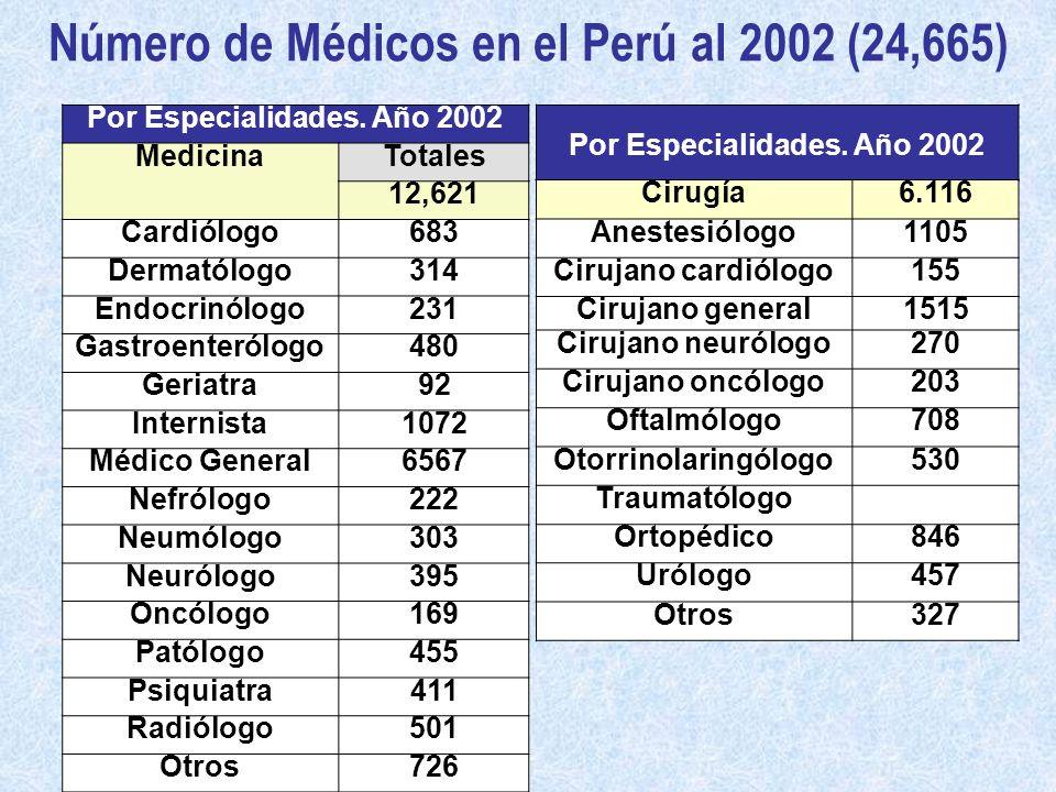 Número de Médicos en el Perú al 2002 (24,665)