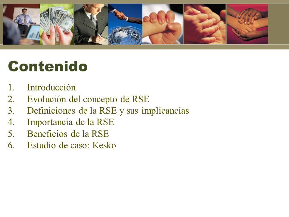 Contenido Introducción Evolución del concepto de RSE