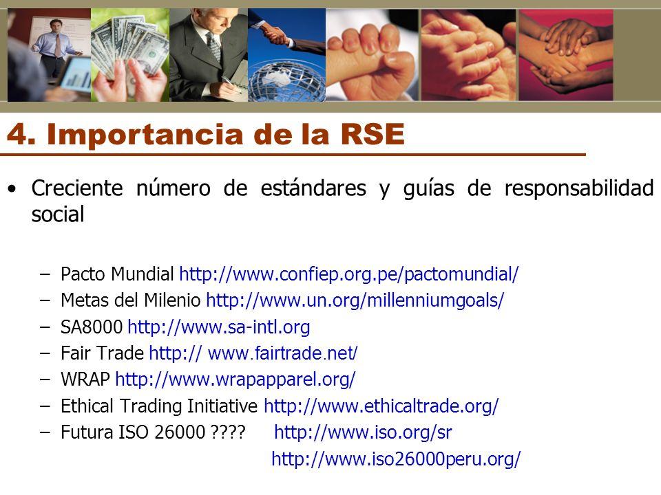 4. Importancia de la RSE Creciente número de estándares y guías de responsabilidad social. Pacto Mundial http://www.confiep.org.pe/pactomundial/