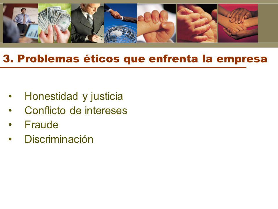 3. Problemas éticos que enfrenta la empresa