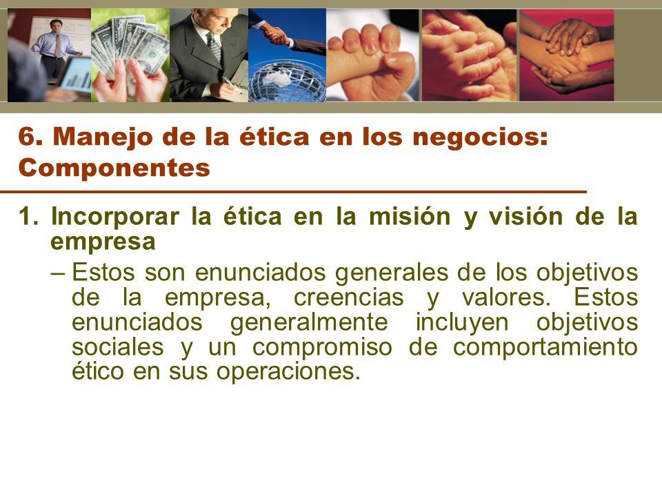 6. Manejo de la ética en los negocios: Componentes