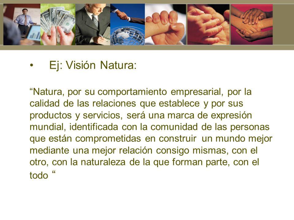Ej: Visión Natura: Natura, por su comportamiento empresarial, por la
