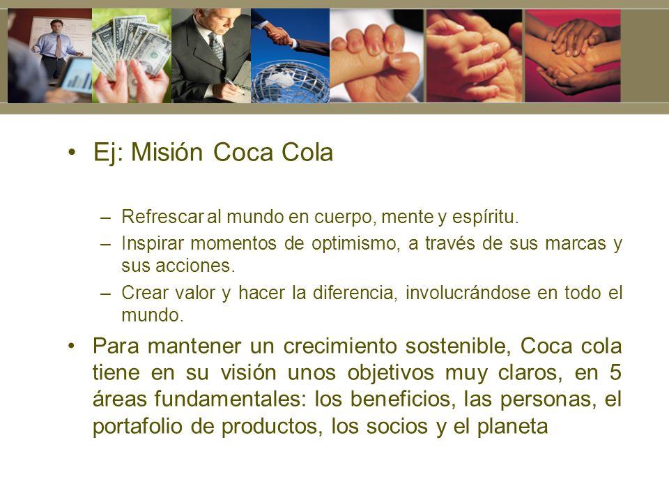 Ej: Misión Coca Cola Refrescar al mundo en cuerpo, mente y espíritu. Inspirar momentos de optimismo, a través de sus marcas y sus acciones.