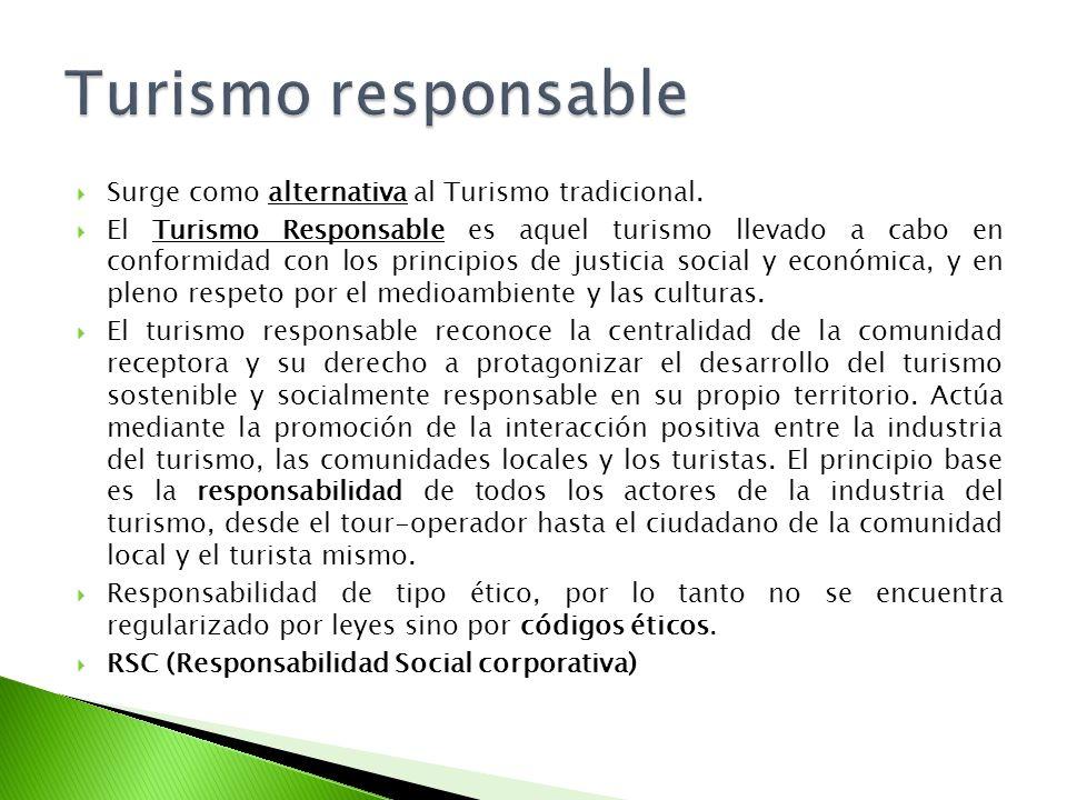 Turismo responsable Surge como alternativa al Turismo tradicional.