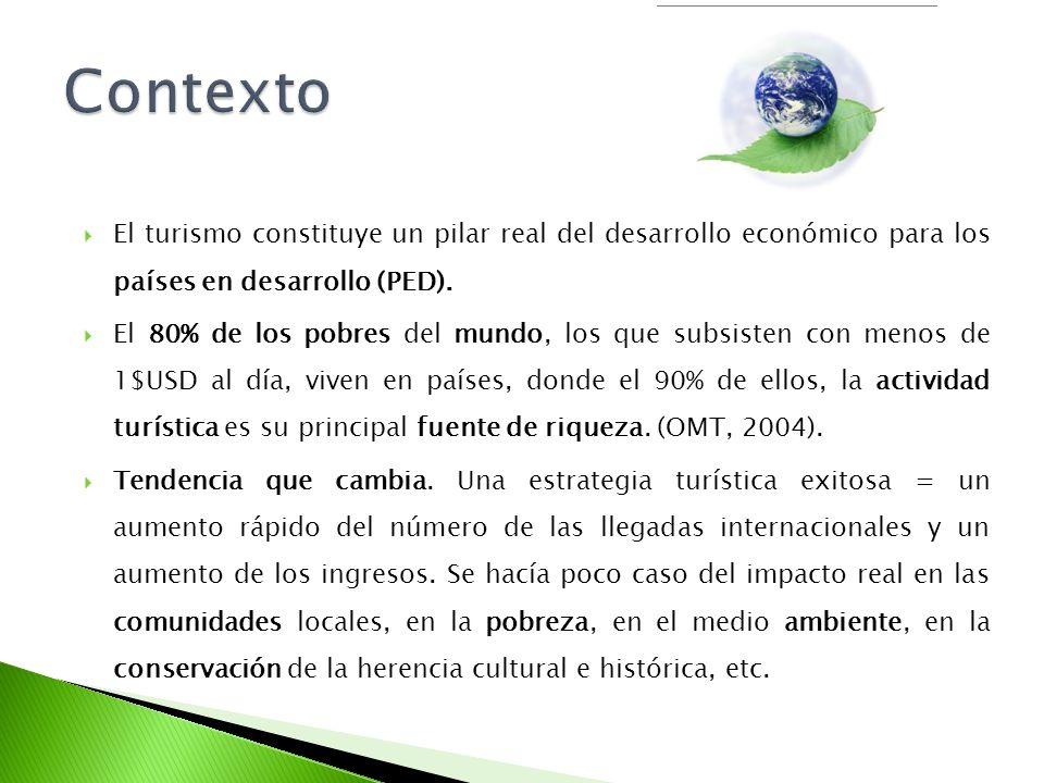Contexto El turismo constituye un pilar real del desarrollo económico para los países en desarrollo (PED).