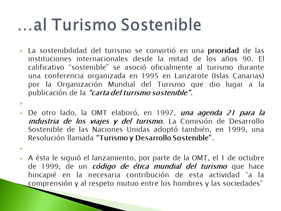 …al Turismo Sostenible