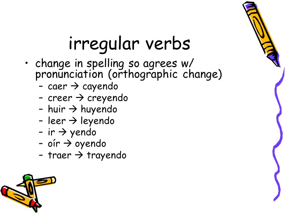 irregular verbschange in spelling so agrees w/ pronunciation (orthographic change) caer  cayendo. creer  creyendo.