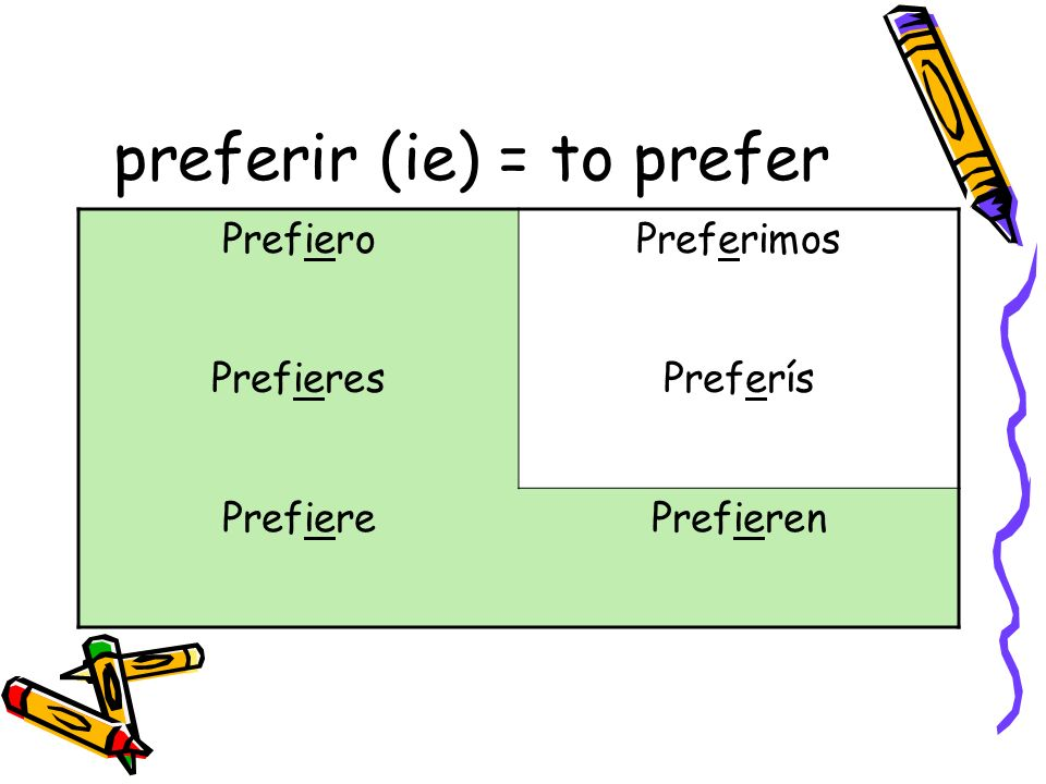 preferir (ie) = to prefer