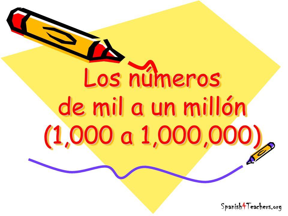 Los números de mil a un millón (1,000 a 1,000,000)