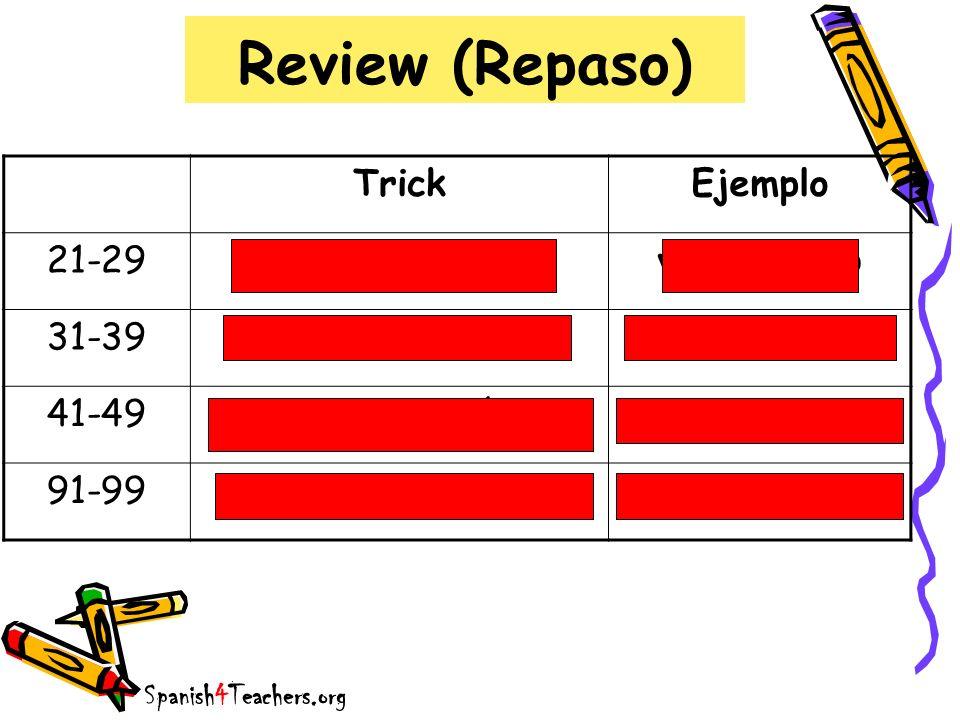 Review (Repaso) Trick Ejemplo 21-29 veinti + número veinticuatro 31-39