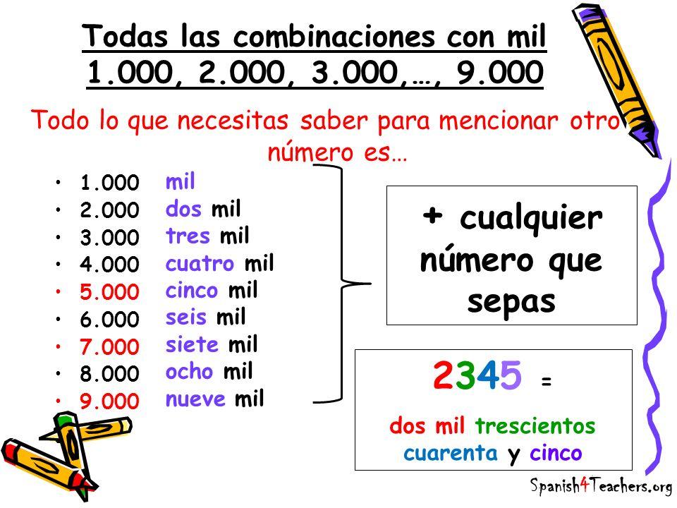 Todas las combinaciones con mil 1.000, 2.000, 3.000,…, 9.000