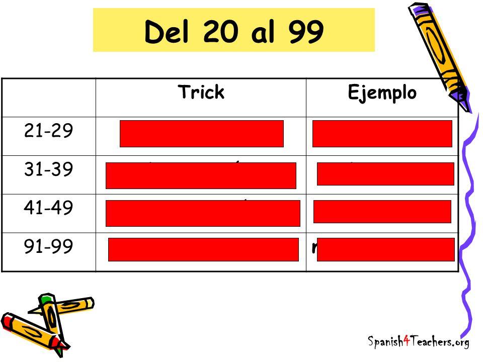 Del 20 al 99 Trick Ejemplo 21-29 veinti + número veinticuatro 31-39