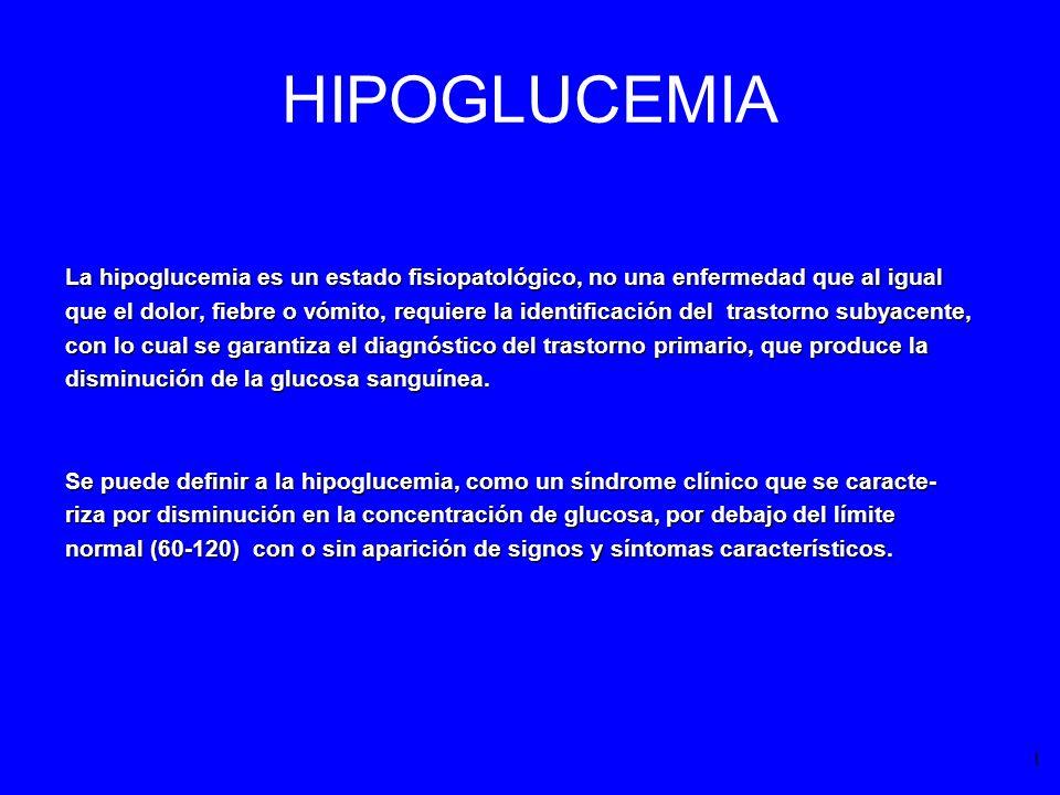 HIPOGLUCEMIA La hipoglucemia es un estado fisiopatológico, no una enfermedad que al igual.