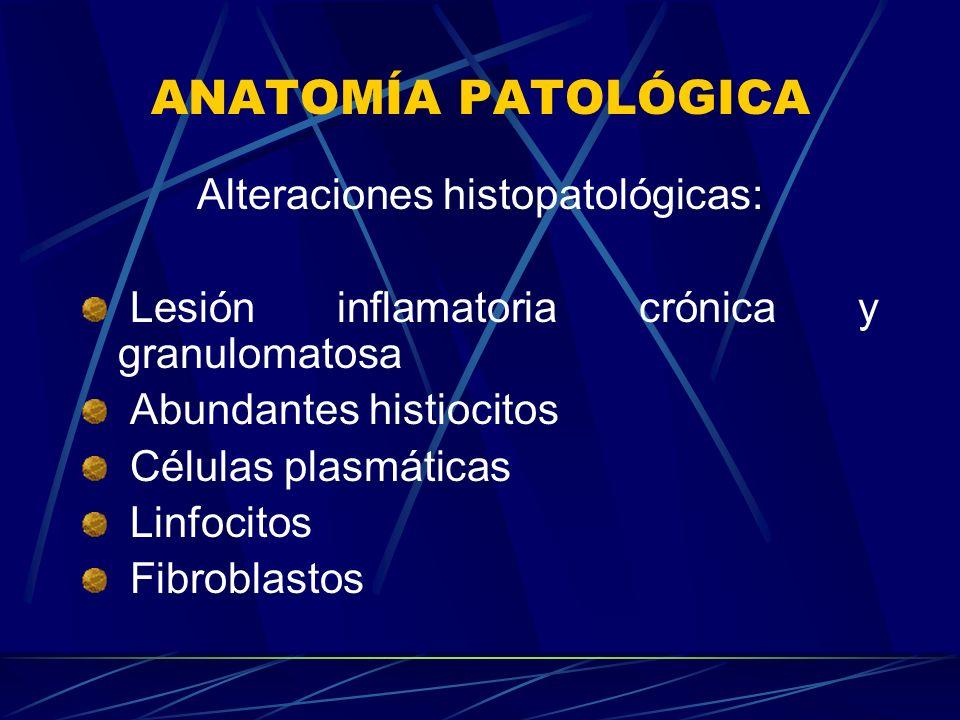 Alteraciones histopatológicas: