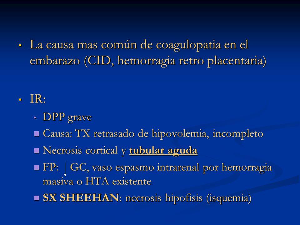 La causa mas común de coagulopatia en el embarazo (CID, hemorragia retro placentaria)