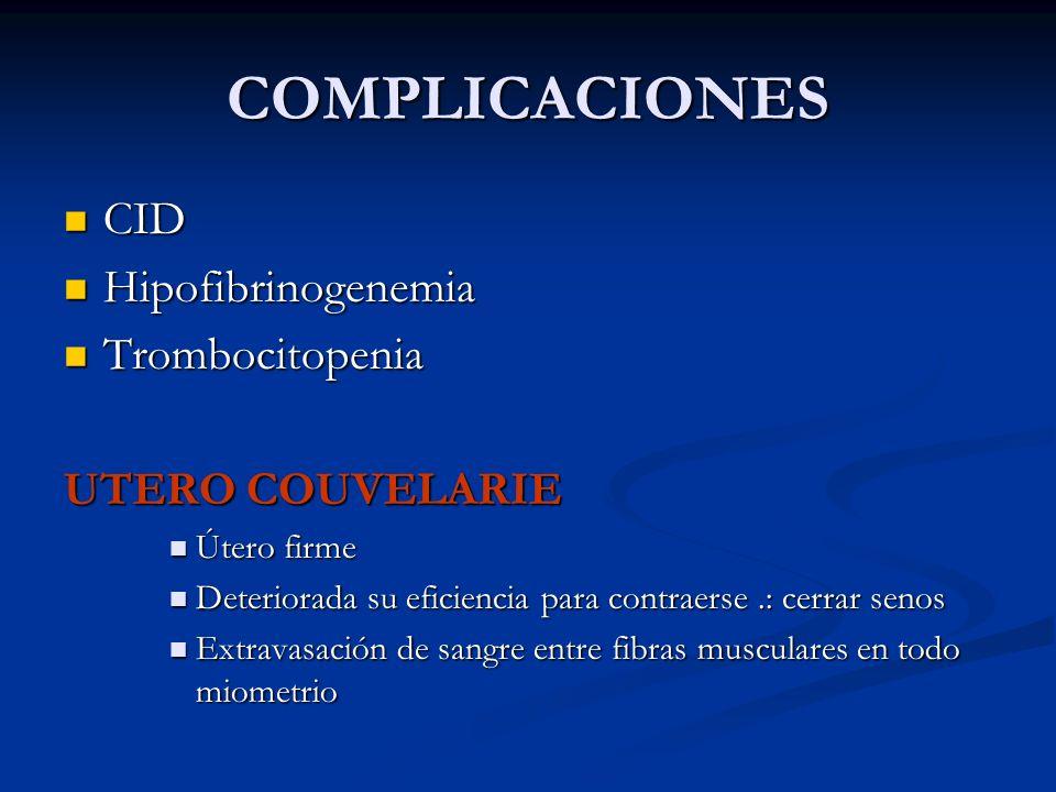 COMPLICACIONES CID Hipofibrinogenemia Trombocitopenia UTERO COUVELARIE