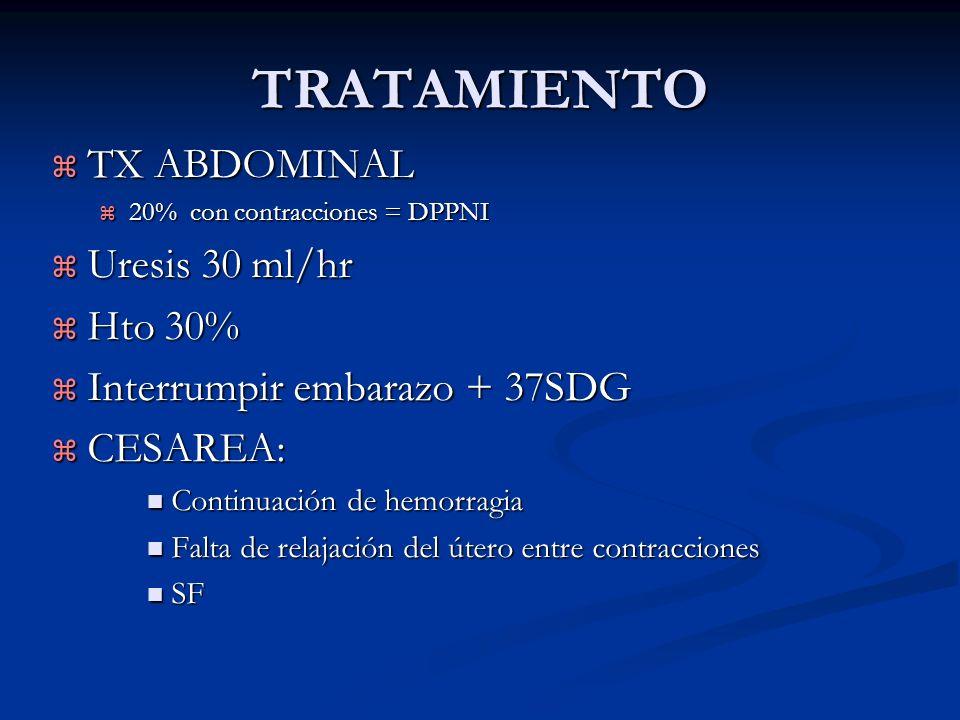 TRATAMIENTO TX ABDOMINAL Uresis 30 ml/hr Hto 30%