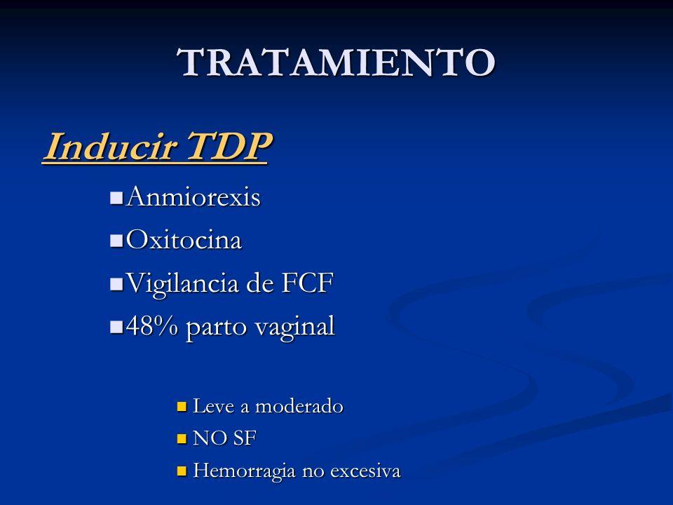 TRATAMIENTO Inducir TDP Anmiorexis Oxitocina Vigilancia de FCF