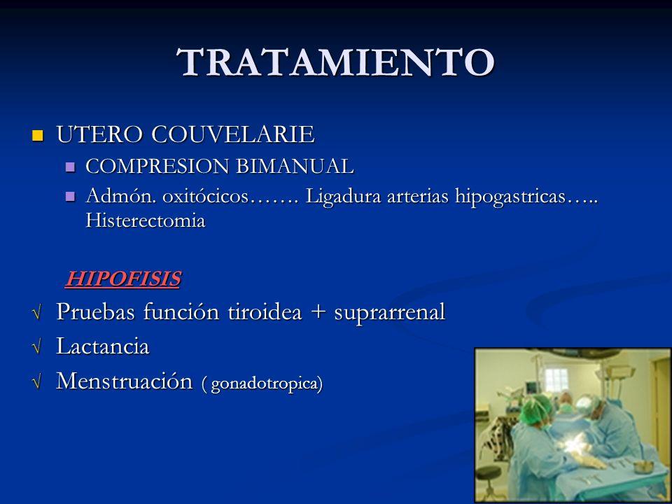 TRATAMIENTO UTERO COUVELARIE Pruebas función tiroidea + suprarrenal