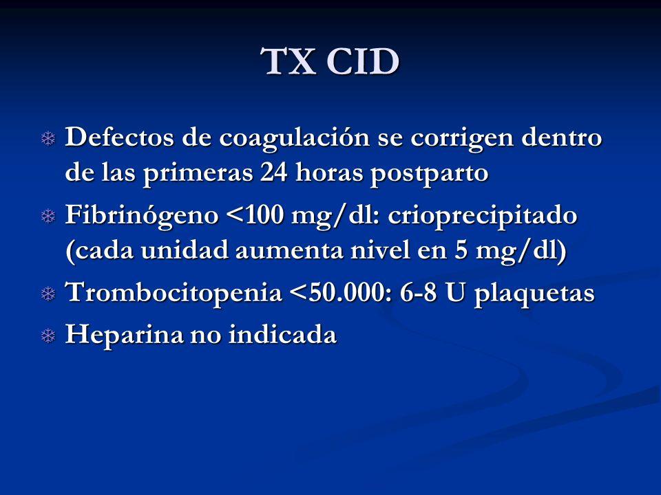 TX CID Defectos de coagulación se corrigen dentro de las primeras 24 horas postparto.