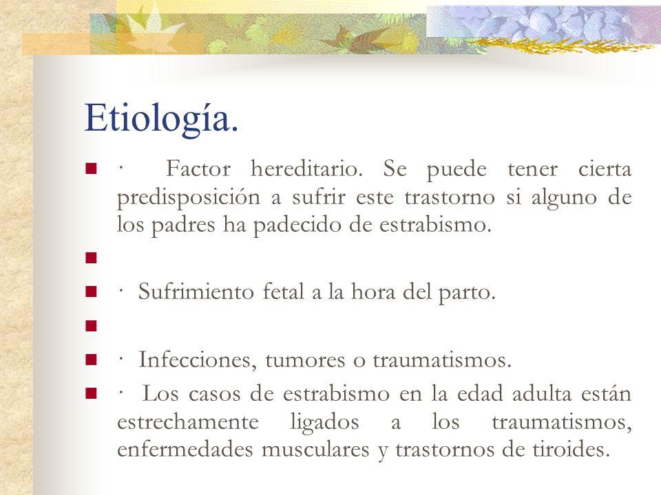 Etiología.· Factor hereditario. Se puede tener cierta predisposición a sufrir este trastorno si alguno de los padres ha padecido de estrabismo.