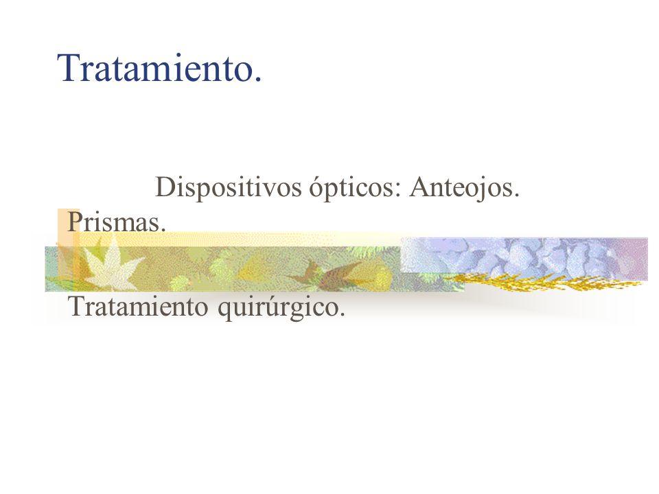 Dispositivos ópticos: Anteojos. Prismas. Tratamiento quirúrgico.