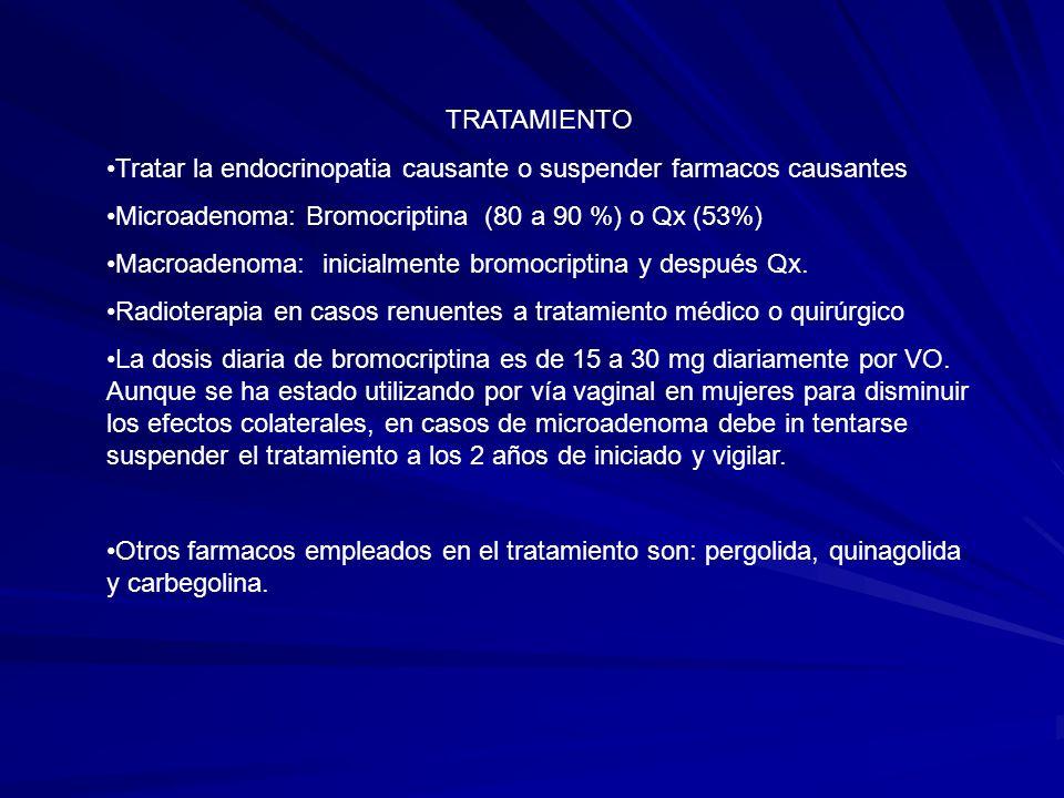 TRATAMIENTOTratar la endocrinopatia causante o suspender farmacos causantes. Microadenoma: Bromocriptina (80 a 90 %) o Qx (53%)