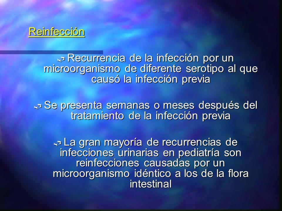 Reinfección Recurrencia de la infección por un microorganismo de diferente serotipo al que causó la infección previa.