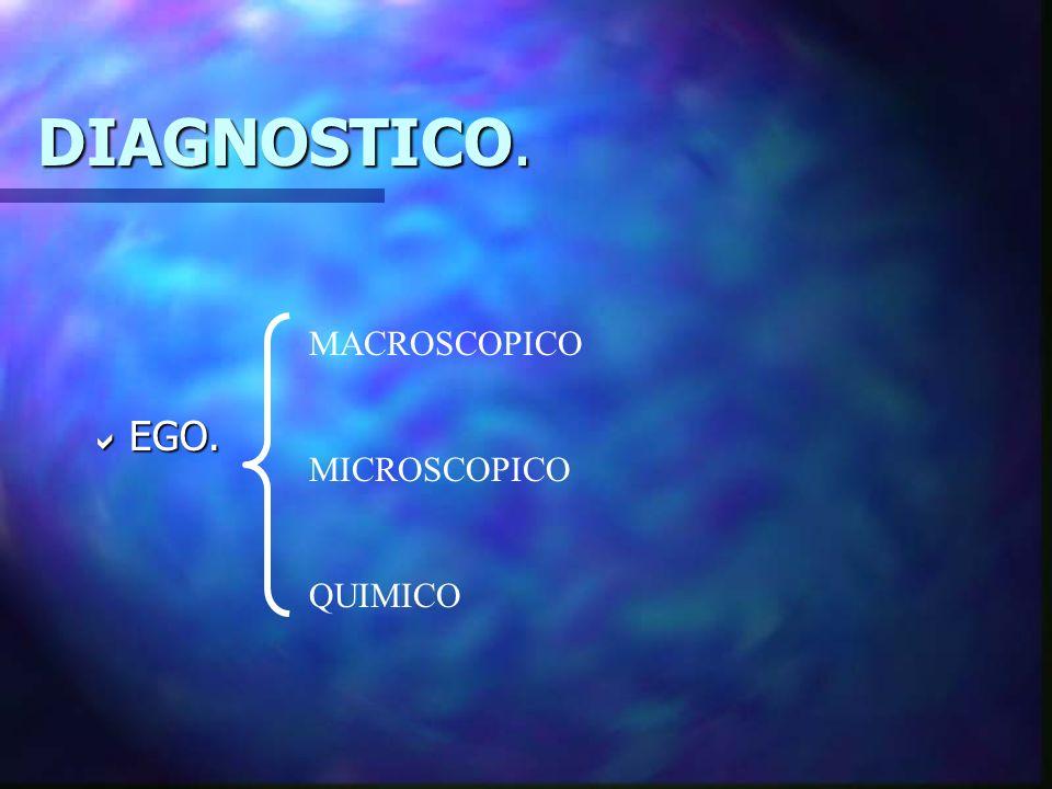 DIAGNOSTICO. EGO. MACROSCOPICO MICROSCOPICO QUIMICO