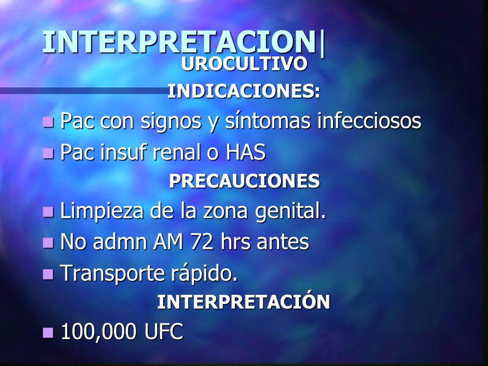INTERPRETACION| Pac con signos y síntomas infecciosos